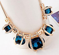 cheap -Women's Crystal Bib Statement Necklace - Crystal, Imitation Diamond European, Festival / Holiday Blue, Screen Color, Dark Green Necklace For Party, Special Occasion, Birthday