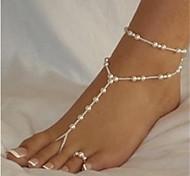 cheap -Pearl Anklet Barefoot Sandals - Women's White/White Sexy Fashion Bikini Ball Pearl Anklet For Bikini Beach