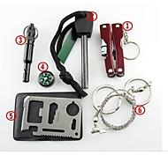 Недорогие -Survival Kit Fire Starter Компасы свисток выживания Кредитная карточка инструмент выживания Стальной проволоки пила ПлоскогубцыПеший