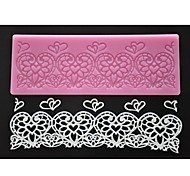 FOUR-C Lace Silicone Mat Heart Embossing Pad Cake Lace Mold Color Pink