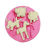 Недорогие -животная форма формы овцы свиньи осел лошади для украшения торта силиконовые формы для помадные конфеты ремесла ювелирных изделий PMC