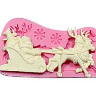 силиконовые формы DIY 3D Рождество Санта-Клаус оленей с саней Fondant украшения торта инструменты шоколада пресс-форм см-242