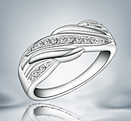 Band Rings Sterling Silver Zircon Cubic Zirconia Fashion Statement Jewelry Silver Jewelry Party 1pc