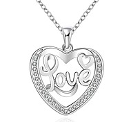 cheap -Cremation jewelry 925 sterling silver Hollow Heart with Love Pendant Necklace for Women
