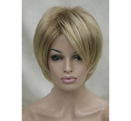 New Light Brown Shadow Roots And Blonde Tip short straight women's synthetic wig