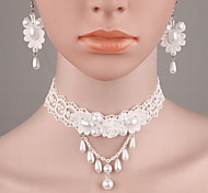 cheap -Women's Pearl Jewelry Set - Pearl, Imitation Pearl, Lace Fashion Include White For Wedding / Casual / Resin / Earrings / Necklace