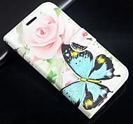 Недорогие -роза рисунок бабочки искусственная кожа флип защитный чехол с магнитной оснастки и слотом для карт iPhone 5с