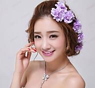 фиолетовый цветочный свадьба / партия свадебных шпильки (3 шт / комплект) элегантный стиль