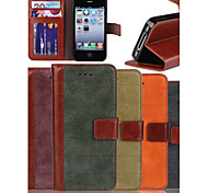 cheap -Genuine Matte Nubuck Cowhide PU Leather Flip Cover Wallet Card Slot Case with Stand for iPhone 4/4S