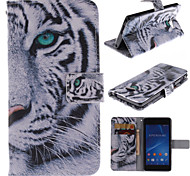 White Tiger Design PU Leather Full Body Case with Kickstand and Card Slot for Sony Xperia M2