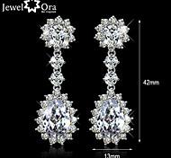 Wedding Jewelry Charming Earrings Brass with rhodium plated Elegant Women Dangle CZ stone Earrings