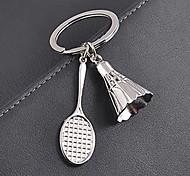 Stainless Steel Badminton Badminton Racket Key Chain Ring Keyring