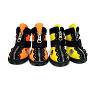 Perro Zapatos y Botas A Prueba de Agua Sólido Naranja Amarillo Para mascotas