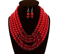 Недорогие -Жен. Набор украшений Серьги-слезки Ожерелья с подвесками Искусственный жемчуг Сплав Бижутерия Винтаж Для вечеринки На каждый день