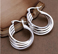 cheap -Women's Sterling Silver Hoop Earrings - Personalized Fashion White Geometric Earrings For Wedding Party Daily