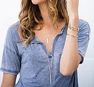 Женский Слоистые ожерелья Сплав Простой стиль Мода Цвет экрана Бижутерия Особые случаи День рождения