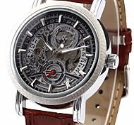 WINNER Da uomo Orologio da polso orologio meccanico Carica automatica Calendario PU Banda Di lusso Nero Marrone Nero Marrone