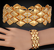 U7® Big Bracelets 18K Yellow Gold Plated Austrian SWA Rhinestone Fashion Jewelry Bangles  For Women/Men Christmas Gifts
