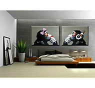 cheap -Hand-Painted Art Wall Monkey Sitting Room Adornment Oil Painting on Canvas  2pcs/set Without Frame
