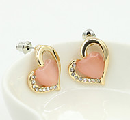 cheap -Women's Crystal Rhinestone Gold Plated Austria Crystal Stud Earrings - Fashion European Beige Green Pink Earrings For