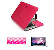 "cheap -Case for Macbook Air 13.3"" Business Solid Color PU Leather Material Luxury Leather 3 in 1 Full Body Cases with Keyboard Flim and HD Screen Protector"