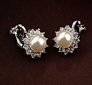 cheap -Women's Cute Flower Pearl Rhinestone - Vintage Party Cute Style White Black Earrings For Daily