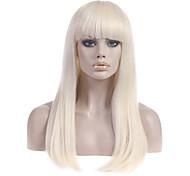 Недорогие -Парики из искусственных волос Прямой С чёлкой С Bangs плотность Без шапочки-основы Жен. Блондинка Карнавальный парик Парик для Хэллоуина