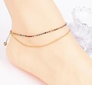 Fashion Women Yoga Dance Simple Micro Zircon Copper Beads Double Anklets (Random Color)