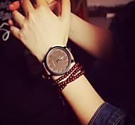 Damen Modeuhr Armband-Uhr Quartz PU Band Schwarz