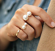 cheap -Women's Pearl Alloy Statement Ring - Fashion Adjustable Gold Silver Ring For Party