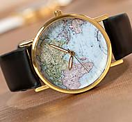 baratos -Homens Relógio de Pulso Quartzo Relógio Casual PU Banda Padrão Mapa do Mundo Preta