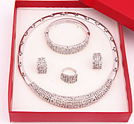 cheap -Women's Gold Plated / Imitation Diamond Jewelry Set Rings / Earrings / Necklace - Luxury / Fashion Silver Jewelry Set For Wedding / Party