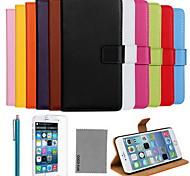 Coco fun® ультра тонкий сплошной цвет натуральной кожи с пленкой, кабель и стилус для Iphone 6 плюс 5,5
