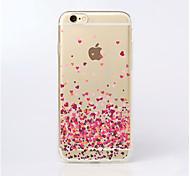 Für iPhone 5 Hülle Transparent / Muster Hülle Rückseitenabdeckung Hülle Herz Weich TPU iPhone SE/5s/5