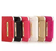 abordables -étui pour iphone 8 iphone 8 plus porte-cartes portefeuille strass avec support flip cas plein corps couleur unie dur cuir véritable pour 7 7 plus 6s