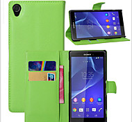 cheap -Case For Sony Xperia Z2 Other Sony Sony Case Card Holder Wallet with Stand Flip Full Body Cases Solid Color Hard PU Leather for Sony