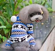 Cane Tuta Pigiami Abbigliamento per cani Romantico Casual Fiocco di neve Grigio Marrone Rosso Blu Costume Per animali domestici