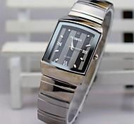 Homens Relógio de Pulso Simulado Diamante Relógio Quartzo Aço Inoxidável Banda Prata