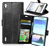 Full Body Wallet / Card Holder / with Stand Solid Color PU Leather Hard Case Cover For HuaweiHuawei P8 / Huawei P8 Lite / Huawei P7 /
