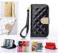 cheap -Diamond Design Leather Photo Frame Flip Stand Wallet Wrist Strap Rope Cover Case For iPhone 4/4S(Assorted Color)