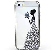 2-in-1 Butterfly Skirt Pattern TPU Back Cover with PC Bumper Shockproof Soft Case for iPhone 5/5S