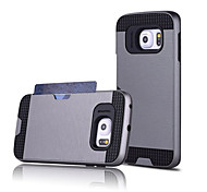 cheap -Case For Samsung Galaxy Samsung Galaxy Case Card Holder Back Cover Solid Color PC for S7 edge S7 S6 edge plus S6 edge S6 S5 S4