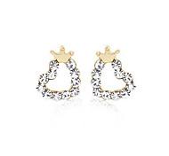 cheap -Women's Heart Crown Crystal Silver Plated Stud Earrings Ear Cuff - Love Heart Golden Crown Earrings For Party Daily Casual