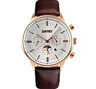 SKMEI® Men's Moon Phase Six Pointers Quartz Dress Watch Leather Strap Cool Watch Unique Watch