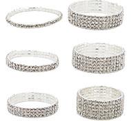 Barcelet/Tennis Bracelet,Fashion Crystal Bangles Bride  Wedding Bling Bling Jewelry Silver Bracelet 1 pcs  Christmas Gifts