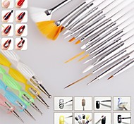 1set Nail Brush Nail Art Design Painting Dotting Detailing Pen Brushes Bundle Tool Kit Set Nail Styling Tools(20pcs/set)