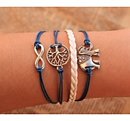 cheap -Men's Women's Leather Infinity Chain Bracelet Wrap Bracelet - Personalized Unique Design Handmade Animal Infinity Tree of Life Blue
