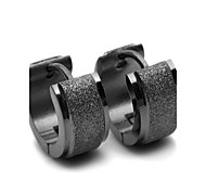 cheap -Men's Stainless Steel Hoop Earrings - Black Round Earrings For Gift