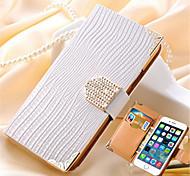 роскошный бумажник карты кристалл побрякушки PU кожаный чехол стразы телефона Дело Чехол для Iphone 6 плюс / 6S плюс (ассорти цветов)