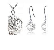 Комплект ювелирных изделий Кристалл Серебрянное покрытие Мода Белый Синий Набор украшений Для вечеринок Особые случаи День рождения